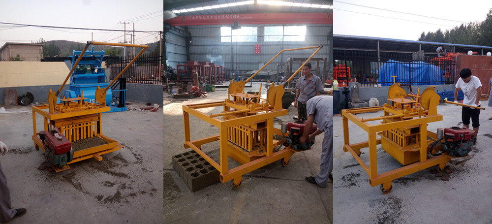 QM4-45 Diesel movable hollow cement block make machinery price interlocking Manual Brick Making Machine